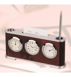 Wooden Clock w. Pen Stand & Card Holder