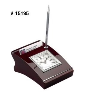Wooden Clock w. Pen Stand & Cardholder