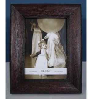 Rustic Convex Border Wood Frame 5x7""