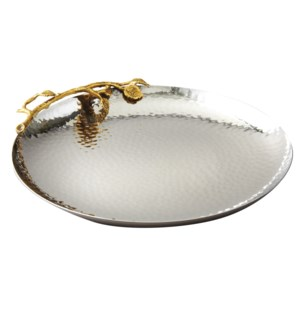 Gilt Leaf SS Round Plate