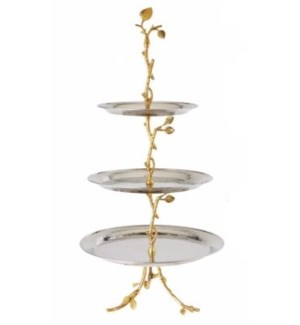 Gilt Leaf SS 3-Tier Tray