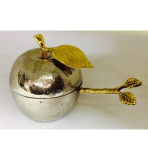 Gilt Leaf SS Honey Pot w. Spoon