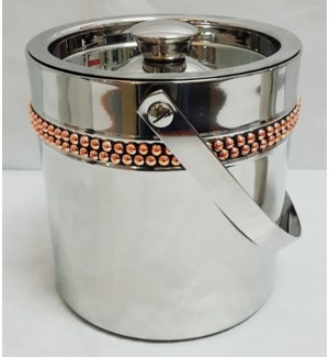 Copper Rivet Band Double Walled Ice Bucket