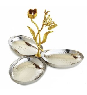 Gold Butterfly SS Triple Nut Tray