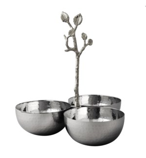 Silver Leaf SS Triple Nut Bowl
