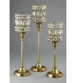 Gold Fin. Beaded Crystal T-Lite Stand