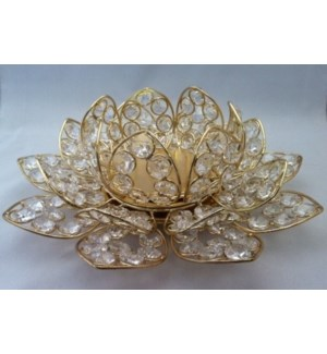 Gold Fin. Beaded Crystal Lotus T-Lite Holder