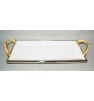 Gold Feather Ceramic Rect. Tray
