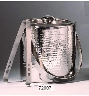 SS Ice Bucket Hammered w. Tongs