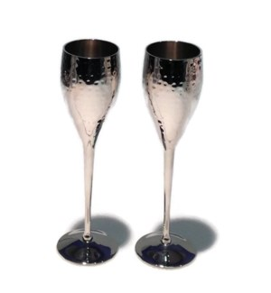 SS Pair Of Hammered Flute Goblets