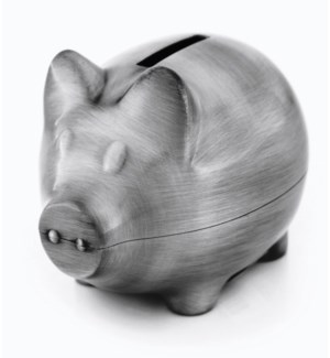 Pewter Finish Plain Piggy Bank