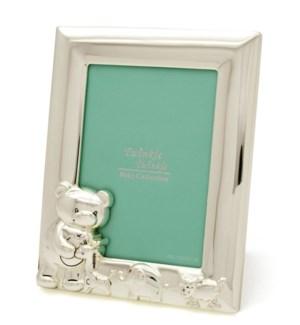 Teddy Bear Frame Ant. Silver Plate