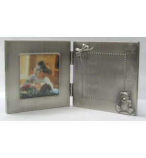 Pewter Finish Fold Frame Hinged 1 Pic/1 Engr.Area w. Bear