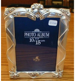 "Pewter Finish Wedding Bells Frame/Album 4x6"" Inserts"