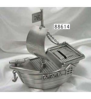 Pewter Finish Pirate Ship Bank