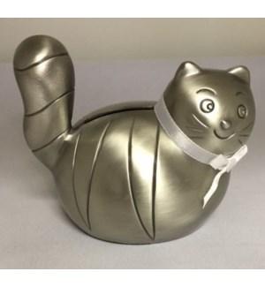 Pewter Finish Cat Bank w. White Ribbon