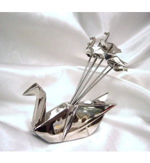 Origami Swan Cheese Pick Holder w. 6 Picks