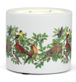 Birds w. Holly Candle Pot