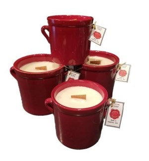 Small Red Crock Candle