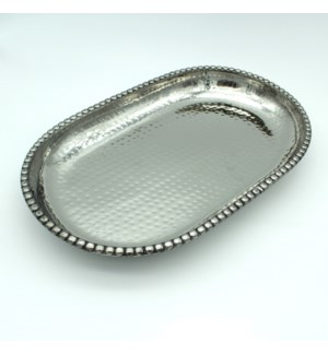 Bold Bead Hammered Oval Tray