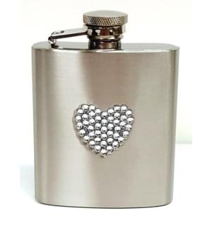White Diamante Heart Flask