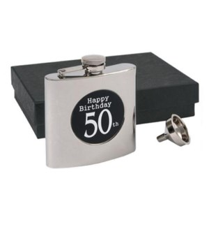 Happy 50th Birthday Flask & Funnel Set