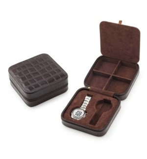 Leather Watch & Cufflink Travel Case