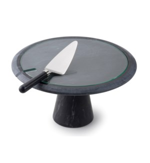 Marble Cake Stand w. Knife & Glass Insert