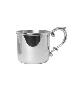 Pewter Straight Baby Cup w. Scroll Handle