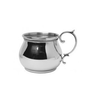 Pewter Bulged Baby Cup w. Scroll Handle