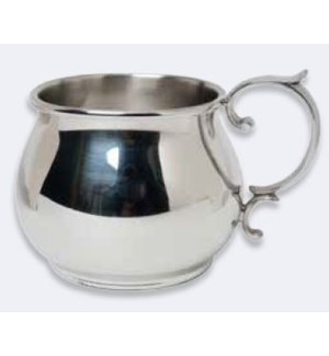 Pewter Beaded Baby Cup w. Scroll Handle
