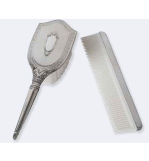 Pewter 2-pc Girls Comb and Brush Set