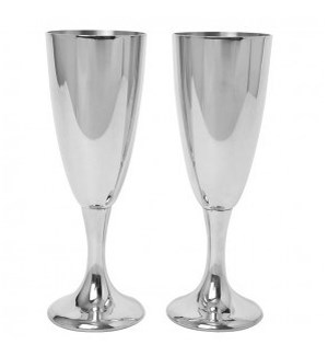 Pewter Toasting Champagne Flute Goblets