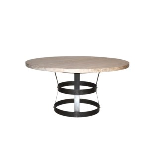 """Basket Dining Table (54""""), RL Top with Steel Base"""