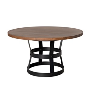 """Basket Dining Table (54""""), Walnut with Steel Base"""