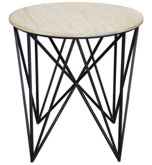 Spider side table w/wood top