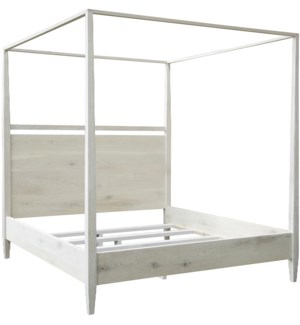 Washed oak modern 4-poster bed, queen