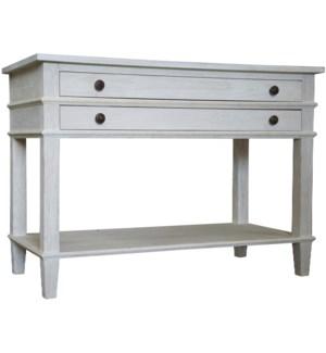 Washed oak 2-drawer nighstand, 1 shelf