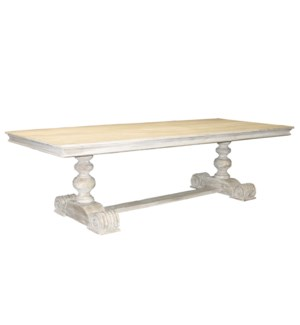 Reclaimed Lumber 2-pedestal dining table, carved