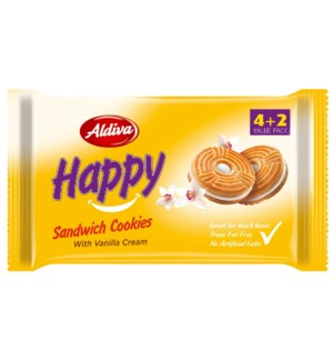 Aldiva Happy Vanilla Cream Biscuit (4+2) 12/68 gr