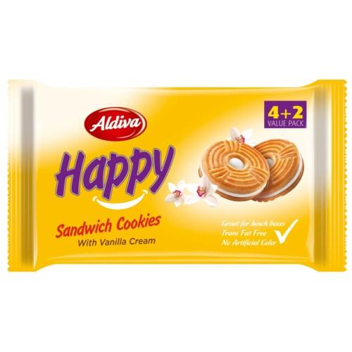 Aldiva Happy Vanilla Cream Biscuit (4+2) 12/68 gr