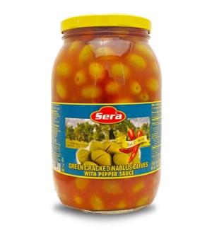 Sera Cracked Green Olives w/Shatta 6/2000 ml