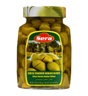 Sera Cracked Green Olives 12/720 ml