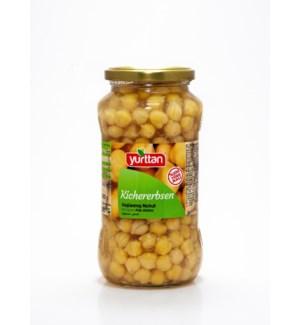 Yurtan Chickpeas Boiled (jar) 12/580 ml