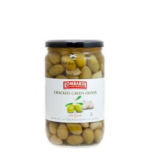 Lombardi Cracked Green Olives w/Garlic 6/730 gr