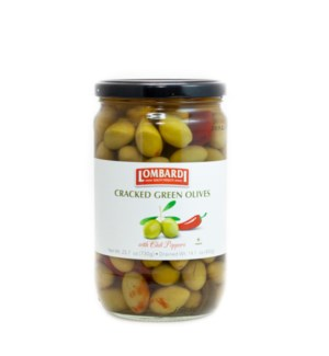 Lombardi Cracked Green Olives w/Peppers 6/730 gr