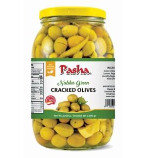 """Pasha """"Nablus"""" Green Cracked Olives 6/2000 ml"""