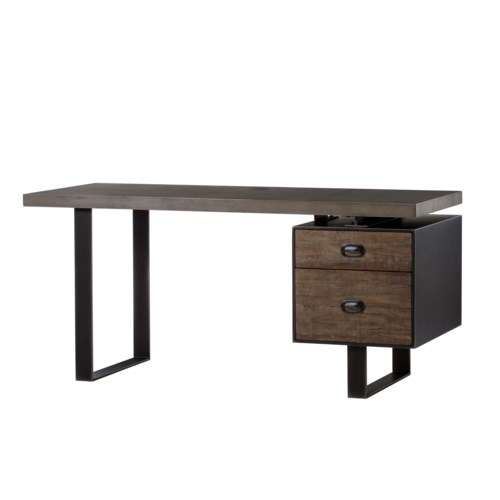 Charles Desk - Concrete Top / Drift Wood - Dark