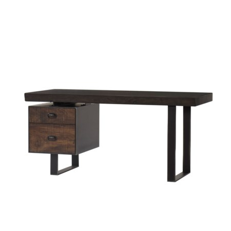 Charles Desk - Single Ped / Live Edge - Dark