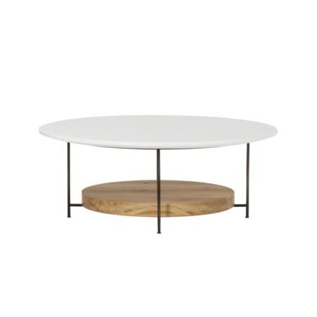 "Olivia Coffee Table - Dia. 42"" / White Lacquer"